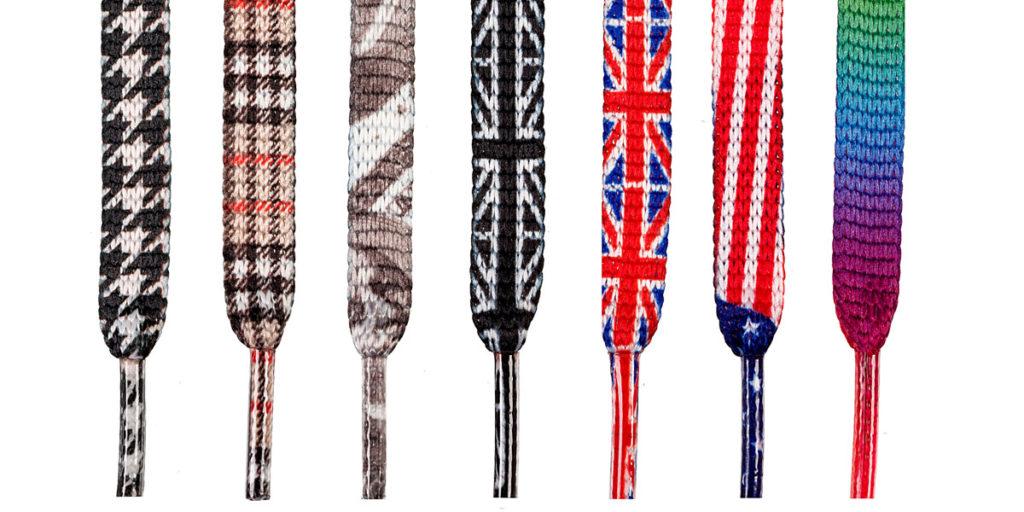 Printed shoelace tartan, hound's tooth, USA flag, UK flag