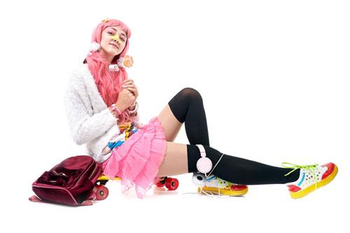 Japanese young lady Harajuku style colorful shoelaces